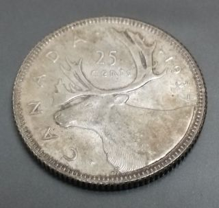 1937 Canadian Quarter - 80% Silver - Choice Very Fine To Extremely Fine photo