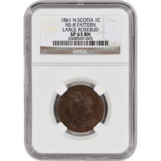 1861 Nova Scotia Cent 1c - Pattern Ns - 8 - Large Rosebud - Ngc Sp63bn - Rare photo