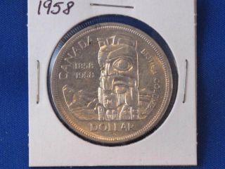 1958 Canada Totem Pole Silver Dollar Canadian B2832l photo