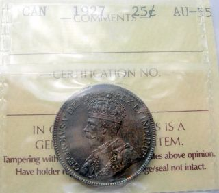 1927 Twenty - Five Cents Iccs Au - 55 Stunning Rare Date Au - Unc Key George V Quarter photo