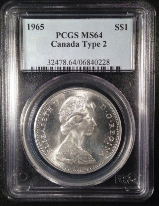 1965 Canadian Silver Dollar Type2 Pcgs Ms64   06840228 photo