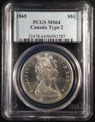 1965 Canadian Canada Silver Dollar Pcgs Ms64 Type 2 06993787 photo