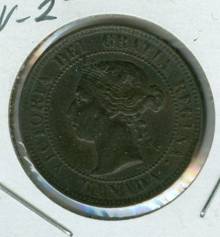 1884 Obv - 2 Canada Large Cent Ef Grade. photo
