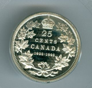 1998 Canada Silver 25 Cents Finest Graded Ultra Cameo Proof. photo