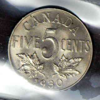 1930 Canada Five Cent Nickel - Iccs Ms - 64 photo