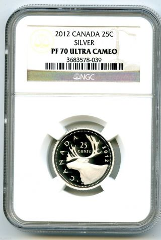 2012 Canada Silver Proof 25 Cent Ngc Pf70 Ucam.  999 Fine Canadian Quarter photo