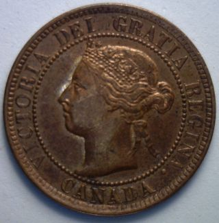 1895 Canadian Large Cent Copper Coin One Cent Ms photo
