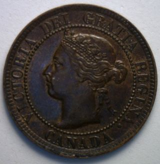 1895 Canadian Large Cent Copper Coin One Cent Unc photo