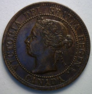1894 Canadian Large Cent Copper Coin One Cent Unc photo