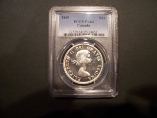 1960 Canadian Silver Dollar Pcgs Pl64 - - Proof Like photo