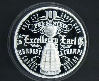 2012 Canada Proof.  9999 Fine Silver Dollar - 100th Grey Cup Limited Edition photo