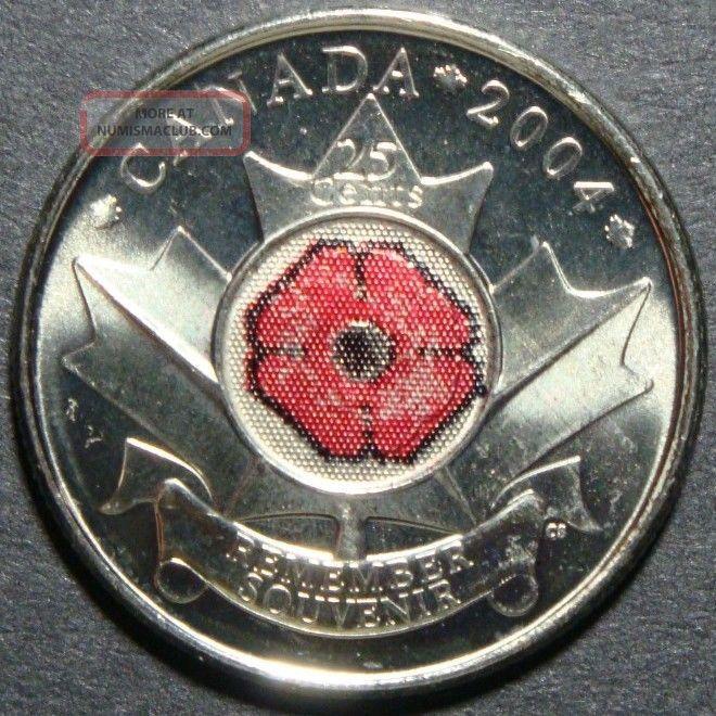 2004 Rare Canada 25 Cents Remember Souvenir Poppy Flower Maple Leaf Coin