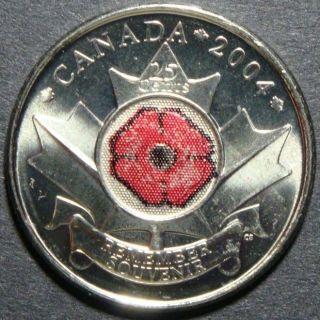 2004 Rare Canada 25 Cents Remember Souvenir Poppy Flower Maple Leaf Coin photo