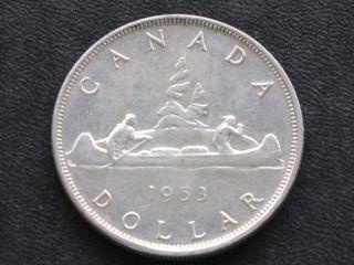 1953 Canada Silver Dollar Canadian Coin A4247 photo