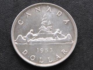 1953 Canada Silver Dollar Canadian Coin A4242 photo