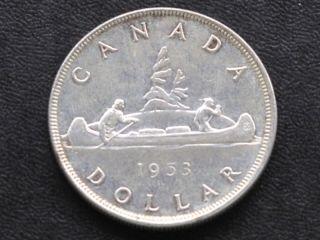 1953 Canada Silver Dollar Canadian Coin A4238 photo