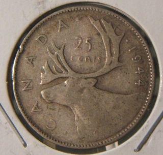 1944 Canada 25 Cents Silver Vg - F Scarce Coin photo
