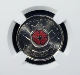2004 Canada 25 Cents Ngc Ms 67 Unc Poppy photo