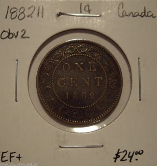 Canada Victoria 1882h Obv 2 Large Cent - Ef+ photo
