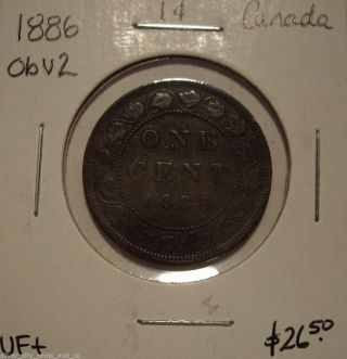 Canada Victoria 1886 Obv 2 Large Cent - Vf+ photo