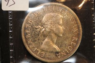 1958 Canada.  1$ Dollar.  Bc.  Dark Tone.  Iccs Graded Pl - 65.  (xrp158) photo