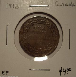 Canada George V 1918 Large Cent - Ef photo