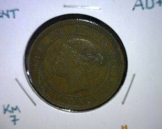 1888 Canada Cent Coin,  Au,  Km 7 photo