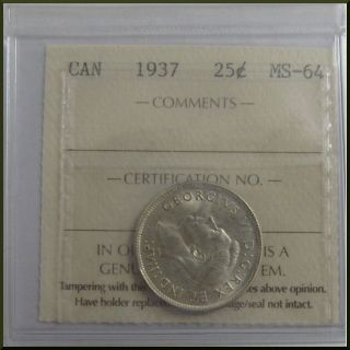Canada 1937 25 Cents Silver Coin Iccs Ms - 64 photo