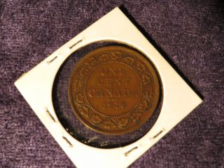 Canada 1916 George V Large Cent Antique Canadian Copper Penny Coin - Flip photo