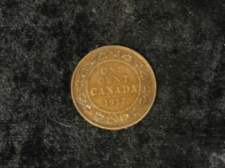 Canada 1917 George V Large Cent Antique Canadian Copper Penny Coin - Flip photo