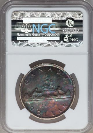 1954 Canada 1 Dollar Toning - Ngc Ms - 63 - Silver Coin Km 54 Multicolor Toning photo