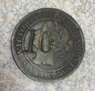 1859 H Large Cent Canada Queen Victoria 1c Xf photo