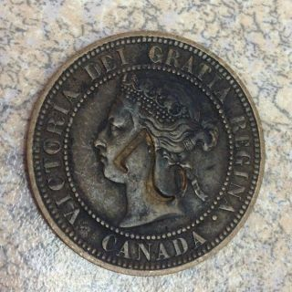 1876 H Large Cent Canada Queen Victoria 1c Xf photo