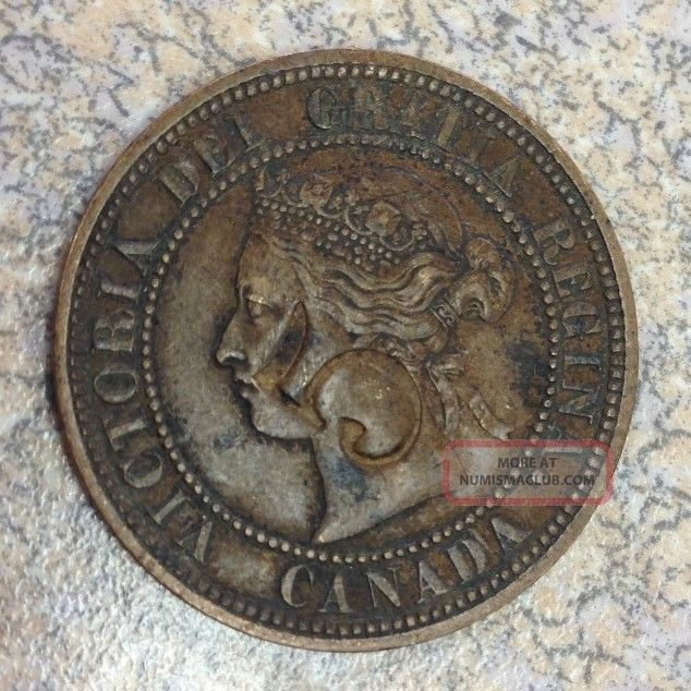 1876 H Large Cent Canada Queen Victoria 1c Xf