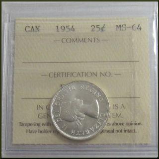 Canada 1954 25 Cents Silver Coin Iccs Ms - 64 photo