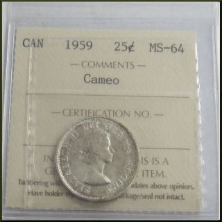Canada 1959 Cameo 25 Cents Silver Coin Iccs Ms - 64 photo
