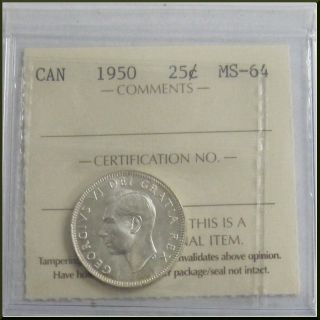 Canada 1950 25 Cents Silver Coin Iccs Ms - 64 photo