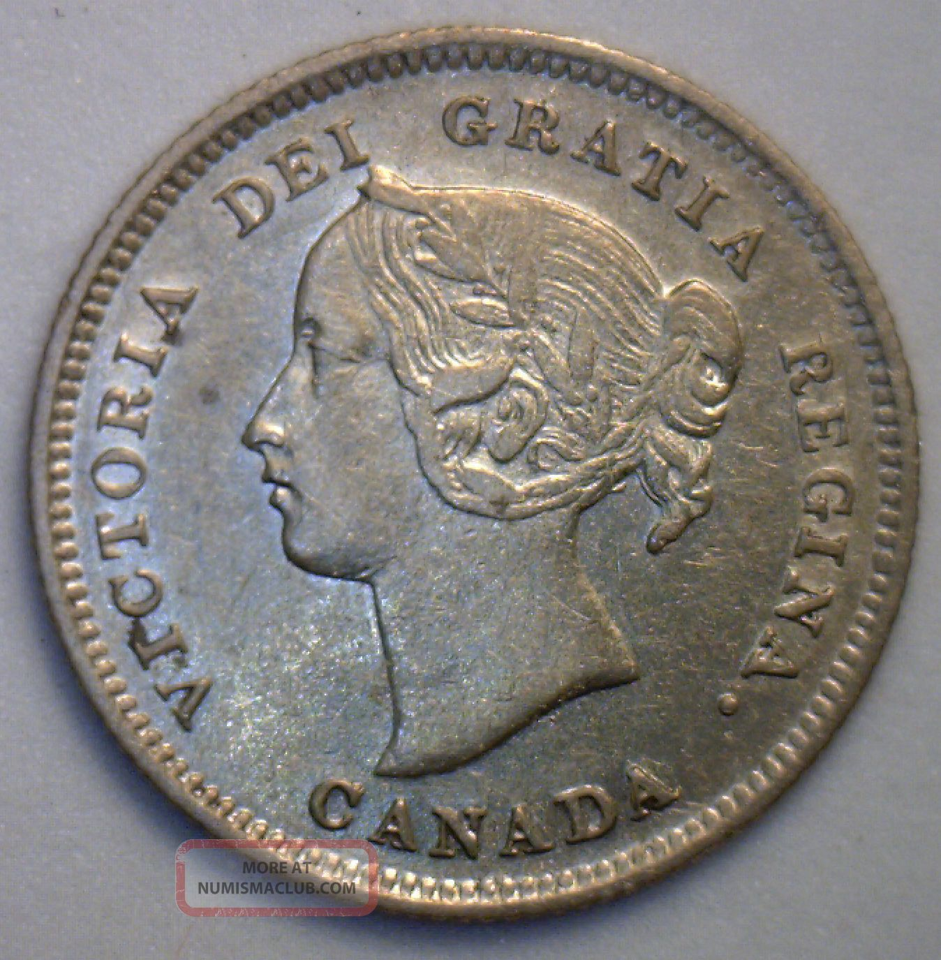 1899 Victoria Silver 5 Cent Small Nickle Canadian Canada