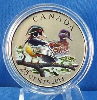2013 Wood Duck - 25 - Cent Colored Commemorative Specimen Coin - Mintage: 17,  500 photo