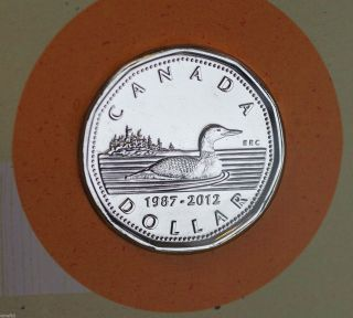 2012 Canada Silver Plated Loon Dollar - 25th Anniv.  Special Edition & Paper Toy photo