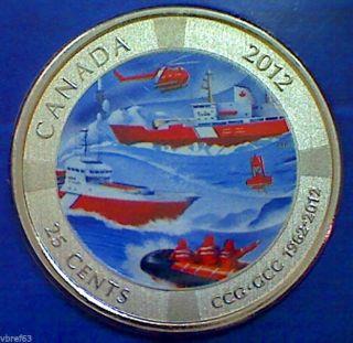 2012 Canada 25 Cent Coloured Commemorative - Coast Guard 50th Anniversary photo