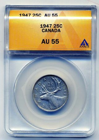 Canada Twenrty - Five Cents 1947,  Anacs Au 55 photo
