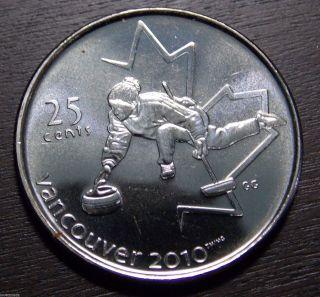 2007 Canada Quarter Dollar 25 Cents Vancouver 2010 Curling Unc photo