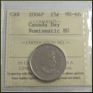 Canada 2004p Canada Day Moose 25 Cents Coin Numismatic Bu Iccs Ms - 66 photo