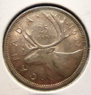 1937 Canadian Quarter Dollar 25 Cents With Luster Better Date (scarce) photo