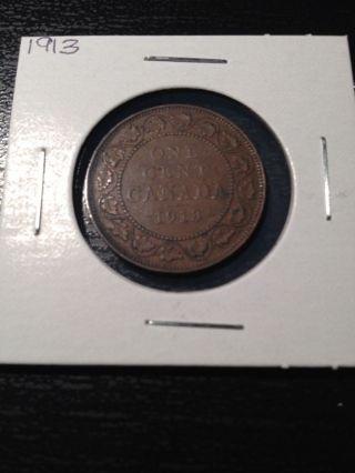 1913 Large Canadian Cent photo