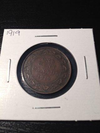 1919 Large Canadian Cent photo