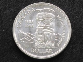 1958 Canada Silver Dollar Canadian Coin A4228l photo