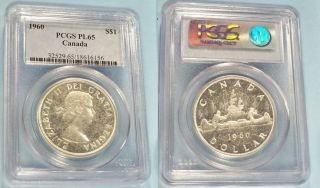 1960 Canada Voyageur Silver Dollar Ms Pcgs Pl 65 photo
