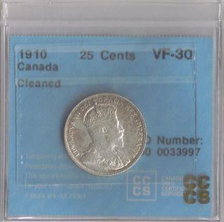 1910 Canada Twenty Five Cents Quarter photo
